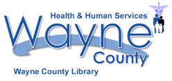 Library Logo with Blue Swish behind words Wayne County Library